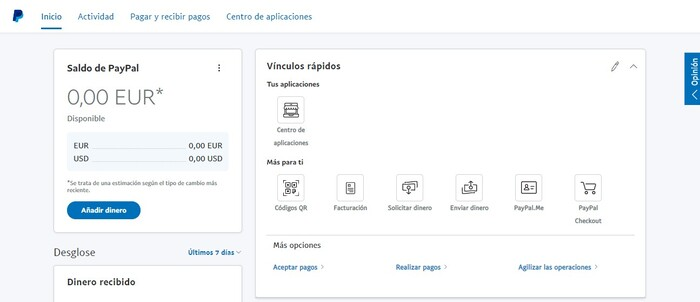 Cuenta Business de PayPal creada